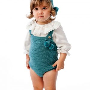 turquoise pom pom knitted dungaree romper . www.thebabycloset.ie
