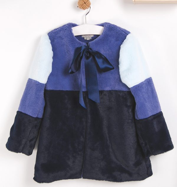 faux fur striped girl coat . www.thebabycloset.ie