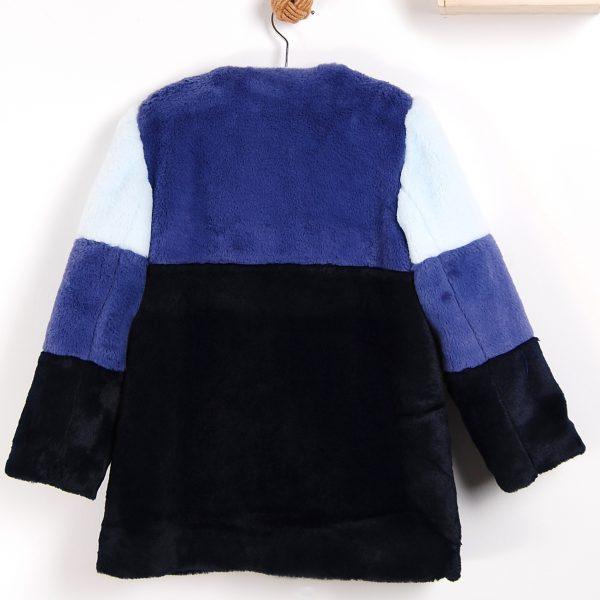 blue faux fur colour girls jacket .www.thebabycloset.ie