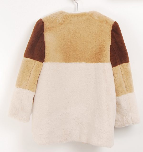 sand colour faux fur girls striped coat . www.thebabycloset.ie
