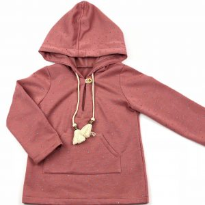 dusk pink hooded jumper . www.thebabycloset.ie